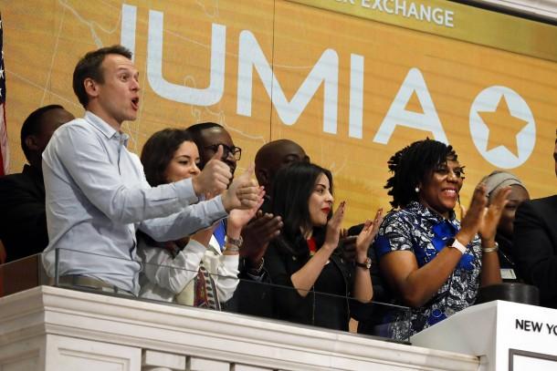Die Chefs von Jumia feiern den Börsengang ihres Unternehmens an der Wall Street im April 2019.