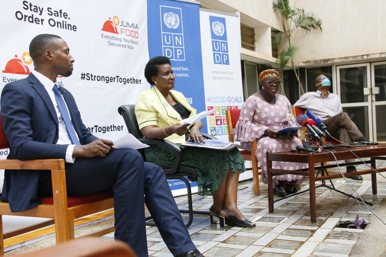 L-R The CEO Jumia Uganda Mr. Ron Kawamara, Minister of Trade, industry and Cooperatives; Hon. Amelia Kyambadde, the UNDP Resident Representative, Ms. Elsie Attafuah during the launch
